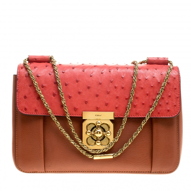 476aaab3b918 Buy Chloe Copper Red Leather and Ostrich Medium Elsie Shoulder Bag 145668  at best price