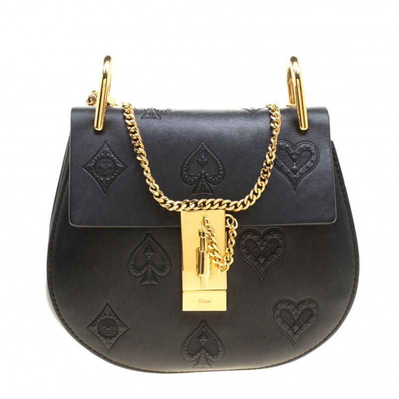 Chloe Black Leather Small Drew Shoulder Bag