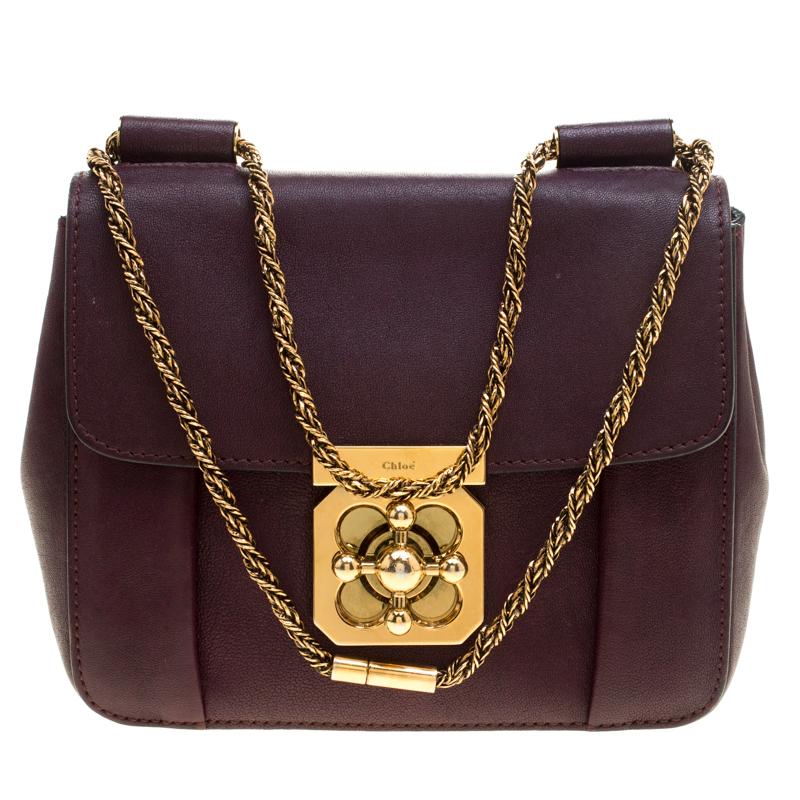 Chloe Purple Leather Small Elsie Shoulder Bag