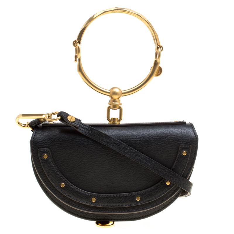 Chloe Black Leather Small Nile Minaudière Crossbody Bag