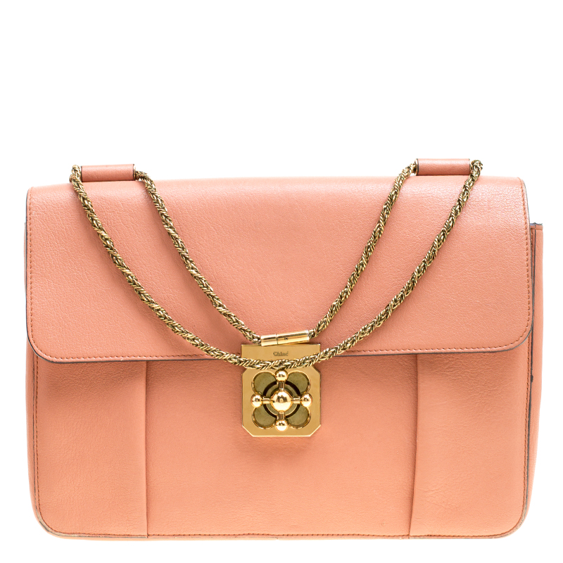ade21972b535 Buy Chloe Peach Leather Large Elsie Shoulder Bag 155417 at best price
