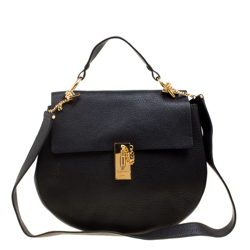 ed0b6b806e Buy Chloe Black Leather Large Drew Shoulder Bag 161362 at best price ...