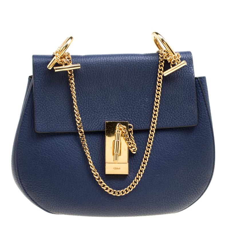 635c61f661 Chloe Blue Leather Medium Drew Shoulder Bag