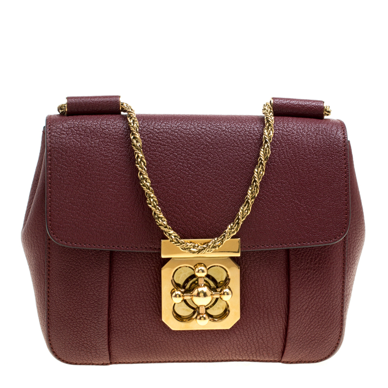 Buy Chloe Maroon Leather Small Elsie Shoulder Bag 166041 at best ... dc9490c8e