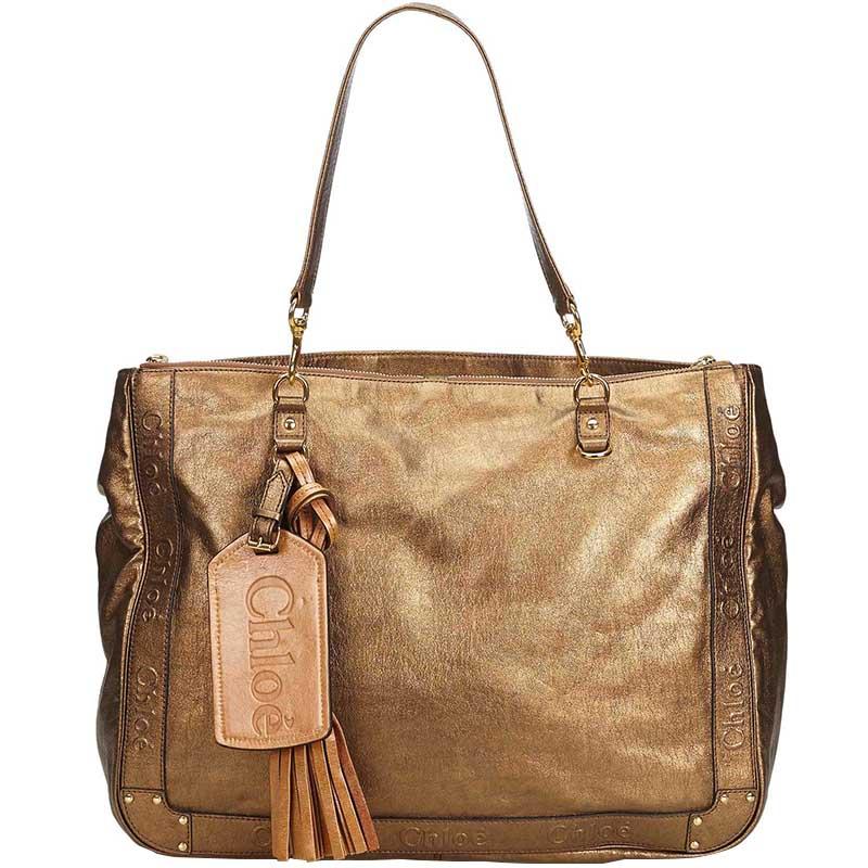 faee12e6af Buy Chloe Brown Metallic Leather Eden Tote Bag 182668 at best price ...