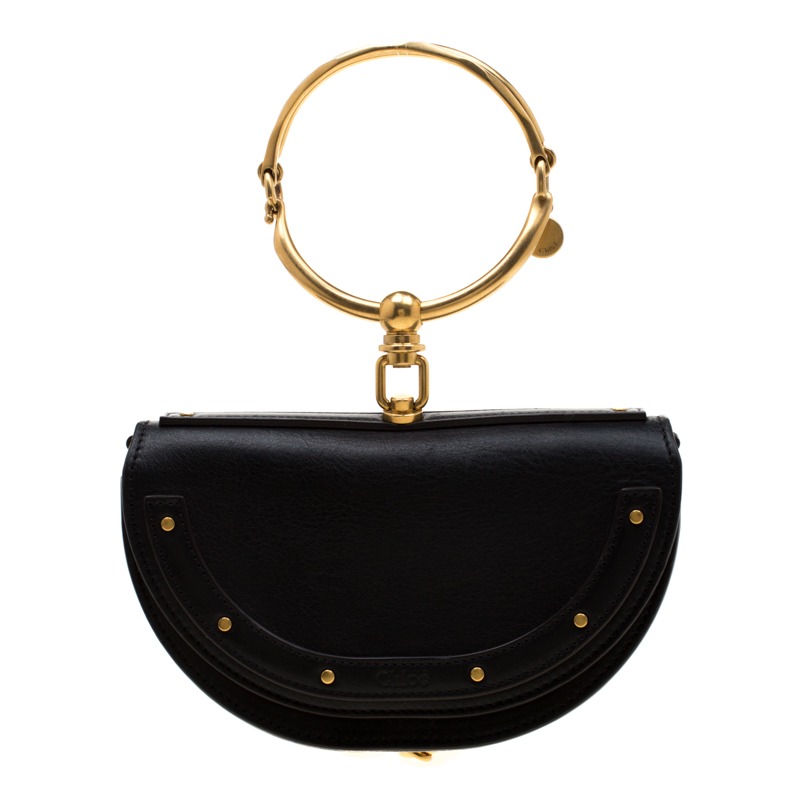 d8c724b3 Chloe Black Leather Small Nile Minaudière Crossbody Bag