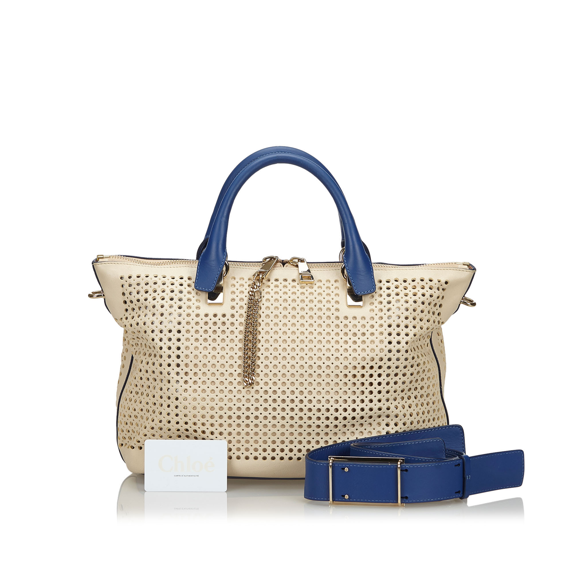 Chloe White Blue Perforated Leather