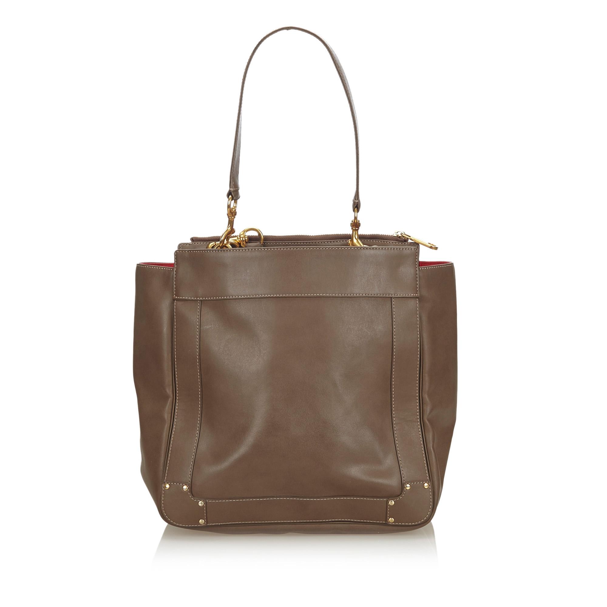 Chloe Brown Leather Eden Tote Bag Chloe