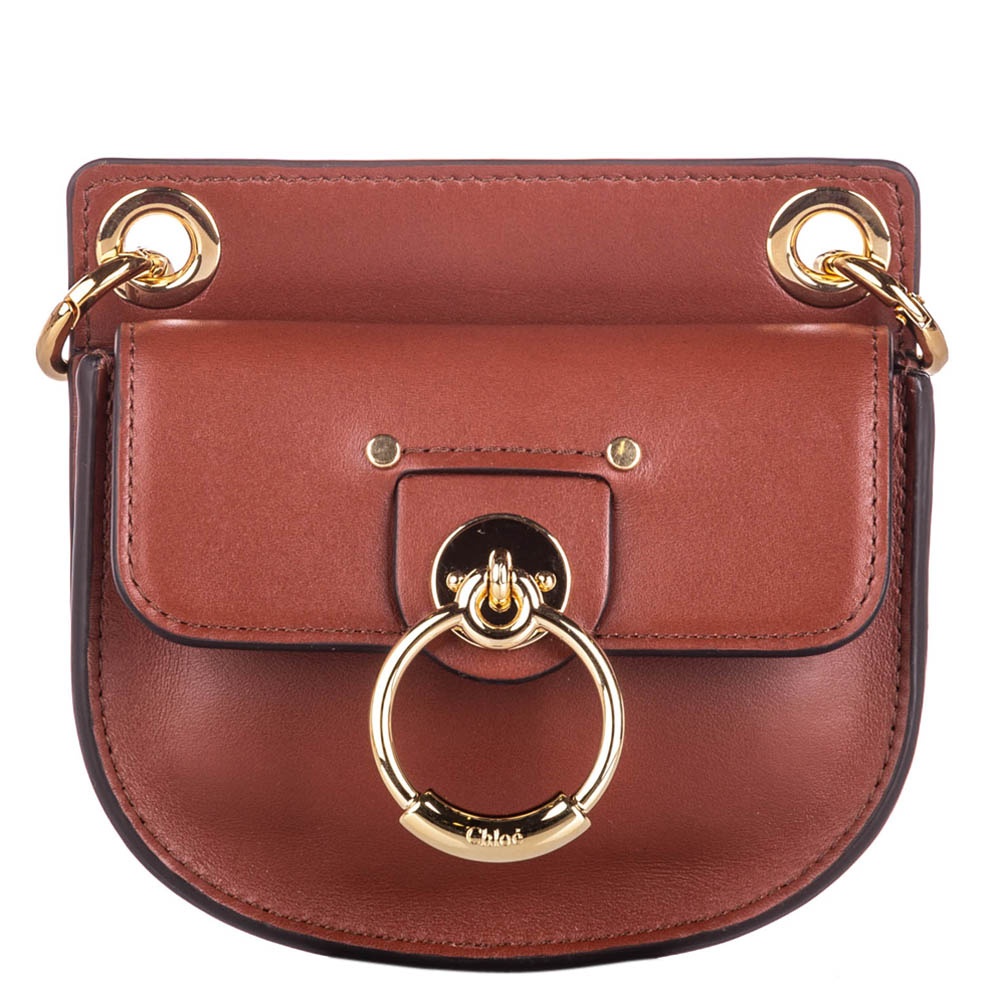 Pre-owned Chloé Brown Leather Mini Tess Shoulder Bag