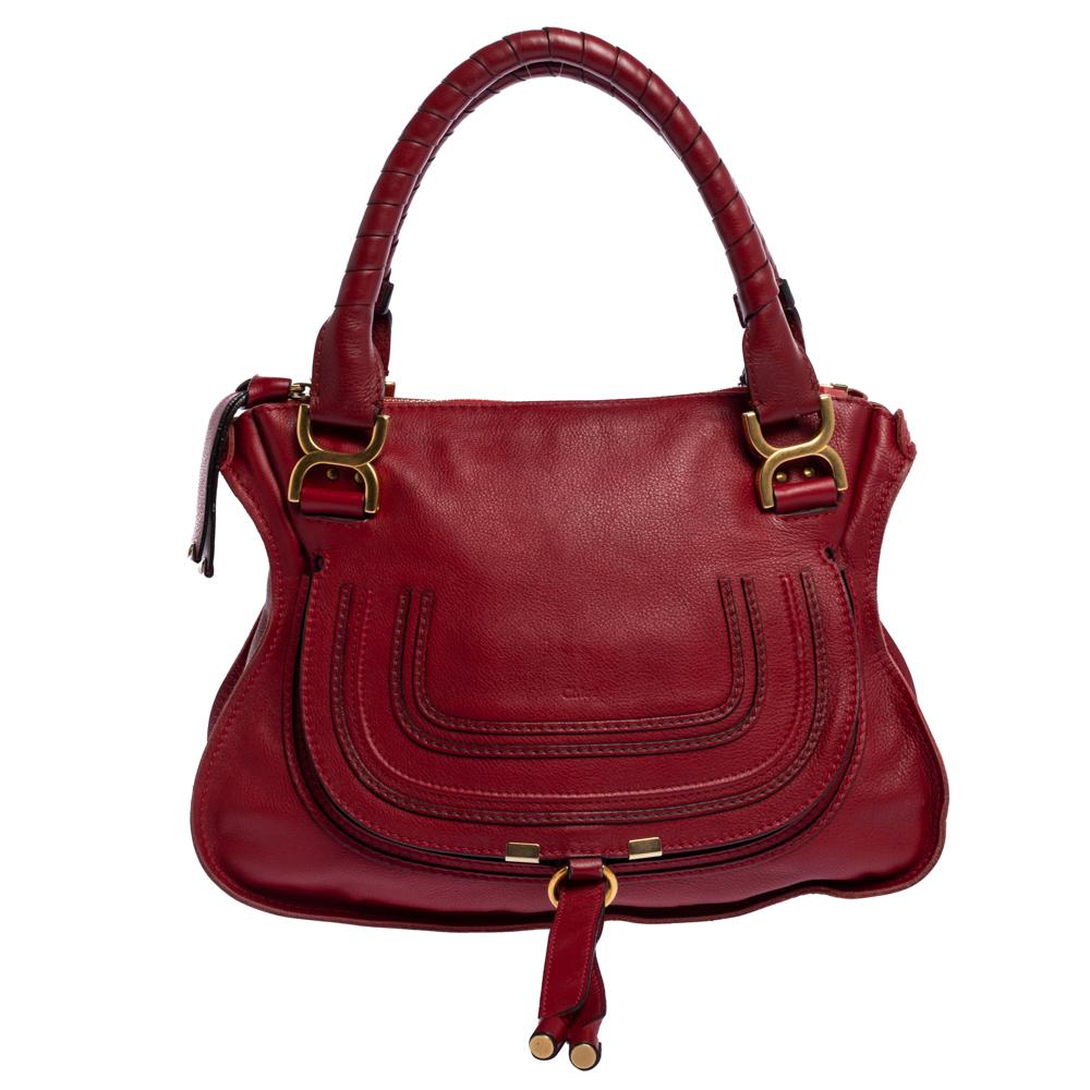Pre-owned Chloé Red Leather Medium Marcie Shoulder Bag
