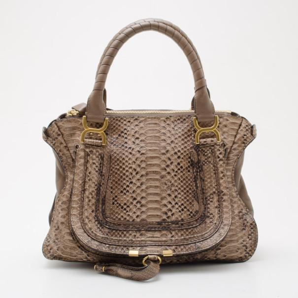 Chloe Grey Python Marcie Handbag