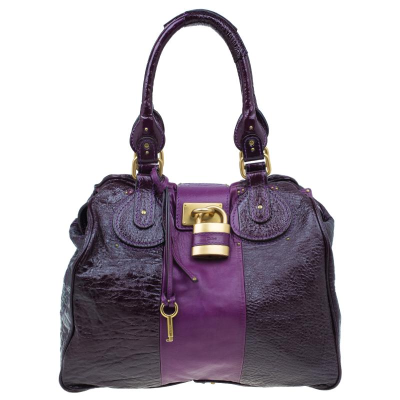 Buy Chloe Dark Purple Patent Leather Paddington Tote 41781 at best ... 868a0dc301