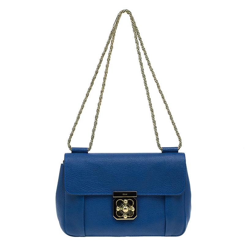 3681cc2a22190 Buy Chloe Blue Leather Large Elsie Shoulder Bag 42833 at best price ...