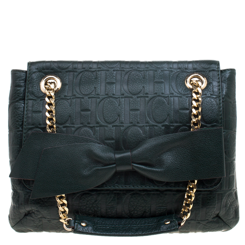 ffd84496cd Buy Carolina Herrera Dark Green Monogram Leather Audrey Shoulder Bag 98291  at best price