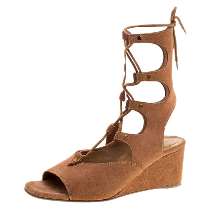 136940e0080 ... Chloe Brown Suede Gladiator Wedge Sandals Size 39. nextprev. prevnext