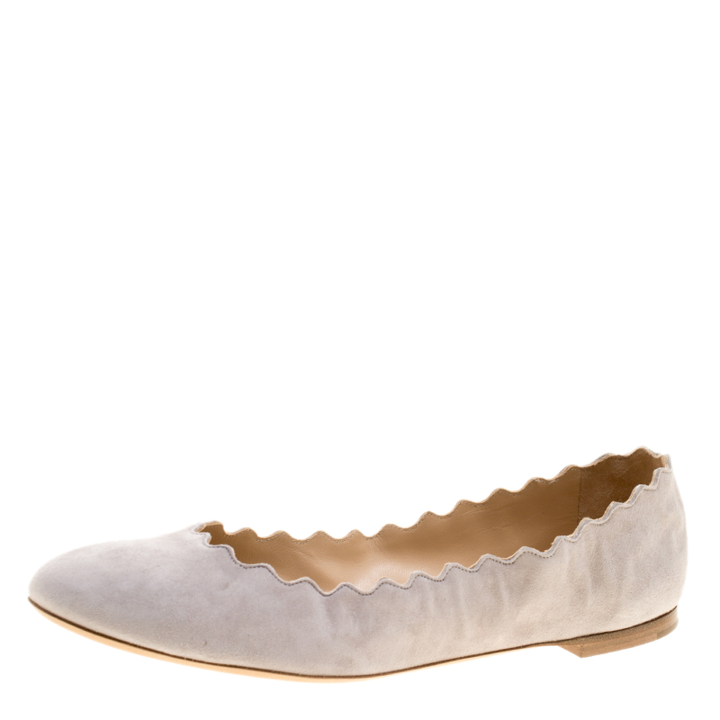 105d88d01b5 Buy Chloe Grey Suede Lauren Scalloped Ballet Flats Size 41 143407 at ...