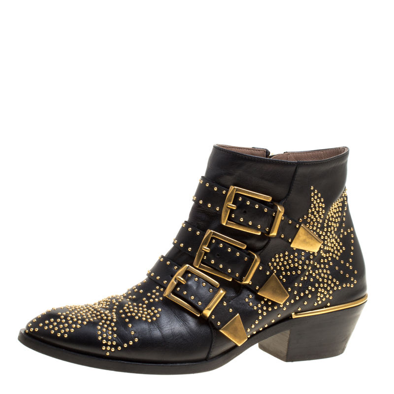 d5c30ab6 Buy Chloe Black Leather Suzanna Studded Ankle Boots Size 36 ...