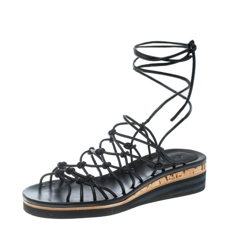 b458d52b881 ... Chloe Black Knotted Leather Ankle Wrap Cork Platform Sandals Size 36.  nextprev. prevnext
