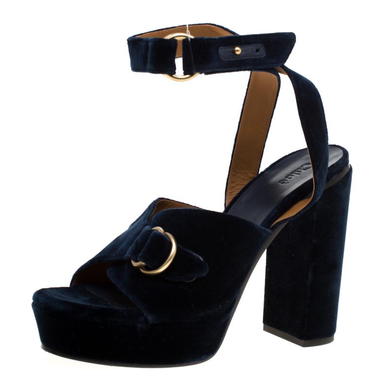 Chloe Dark Blue Velvet Block Heel Cross Strap Platform Sandals Size 40