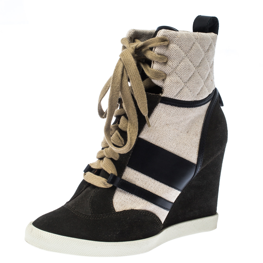 Chloe Black Suede Leather And Beige Canvas Wedge Ankle Boots Size 39.5