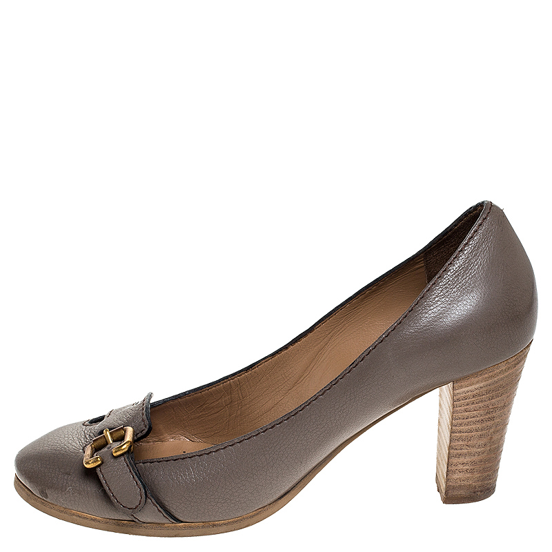 Chloe Grey Leather Buckle Detail Block Heel Pumps Size 37  - buy with discount