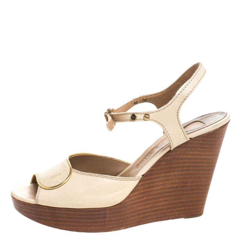 Chloe Beige Leather Peep Toe Ankle Strap Wooden Wedge Platform Sandals Size