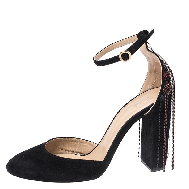 Chloe Black Suede Bead Embellished Block Heel Ankle Strap Liv D'orsay Pumps Size 39