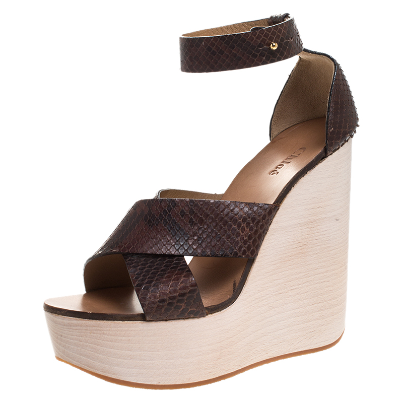 Chloe Brown Python Leather Cross Strap Wooden Wedge Ankle Strap Sandals Size 40