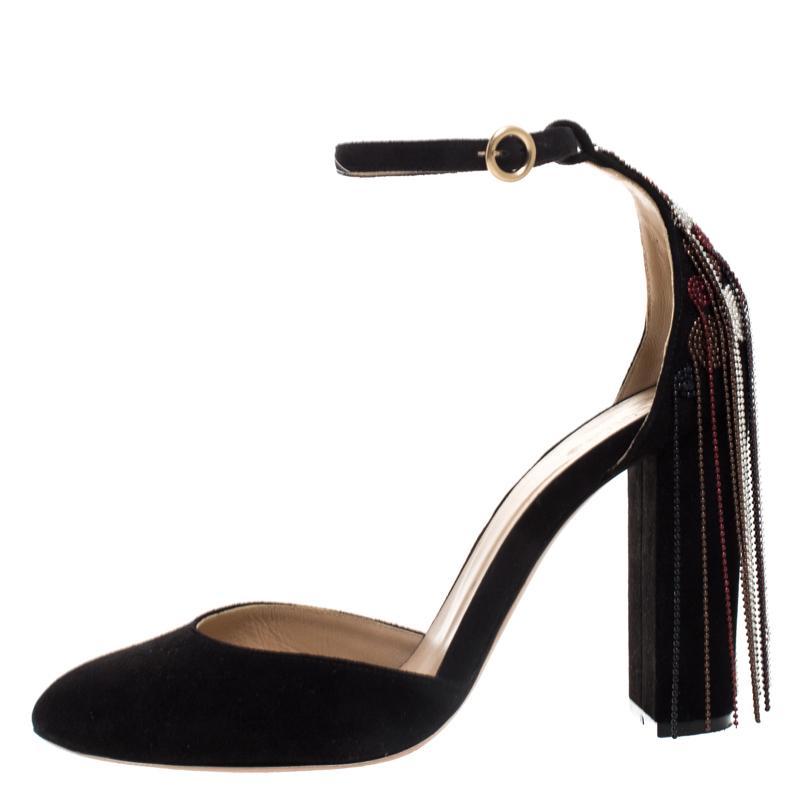 Chloe Black Bead Embellished Suede Liv D' Orsay Ankle Strap Pumps Size 36