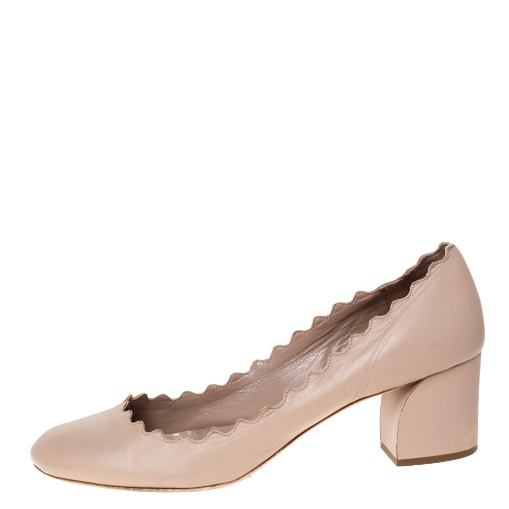 Chloe Beige Leather Lauren Scallop Trim Block Heel Pumps Size 39  - buy with discount