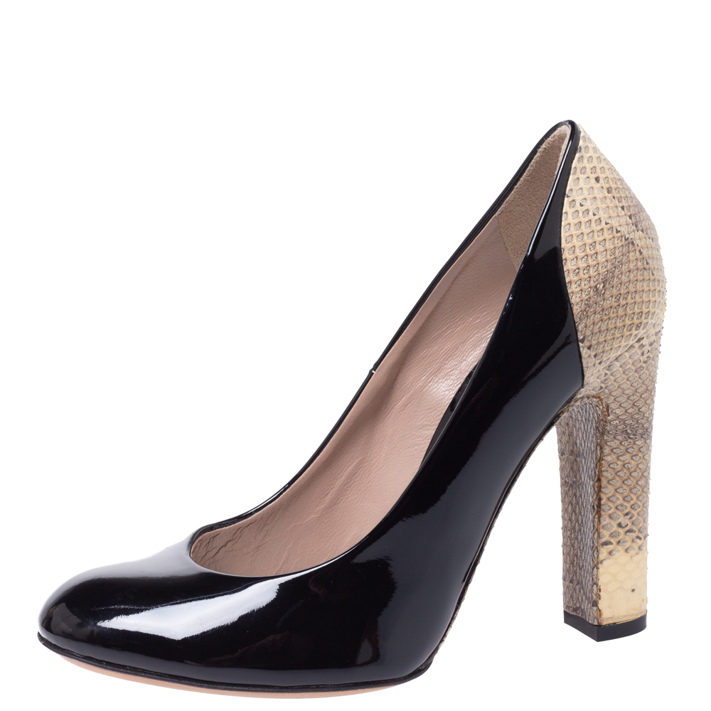 Chloe Black/Beige Patent Leather and Lizard Embossed Leather Block Heel Pumps Size 36  - buy with discount