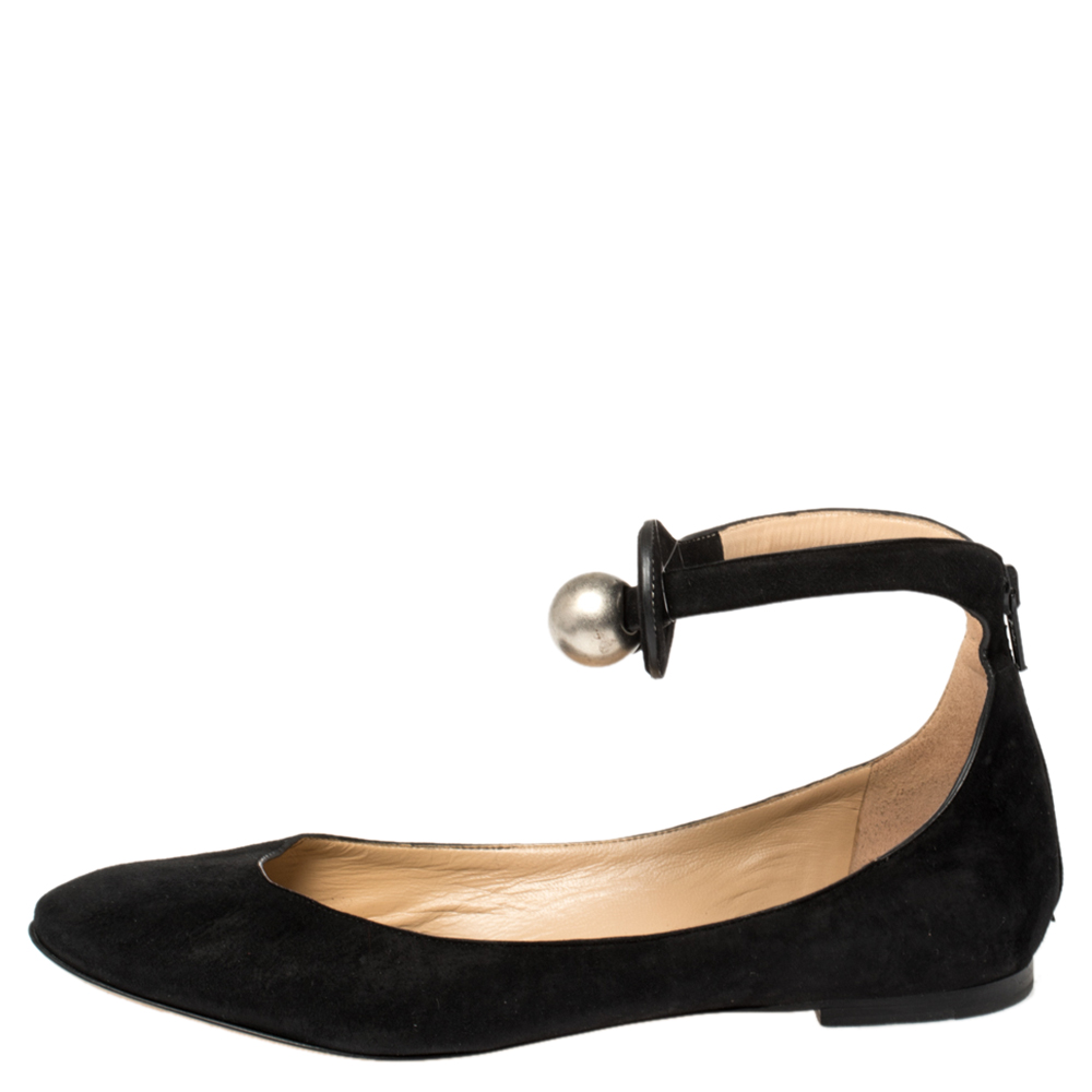 Chloe Black Suede Ankle Strap Ballet Flats Size 38.5