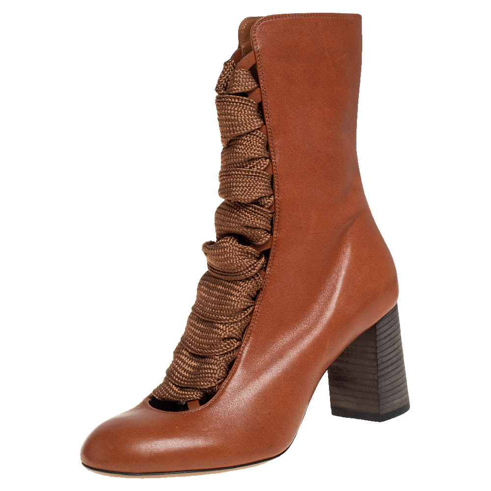 Pre-owned Chloé Tan Leather Harper Mid Calf Boots Size 37.5