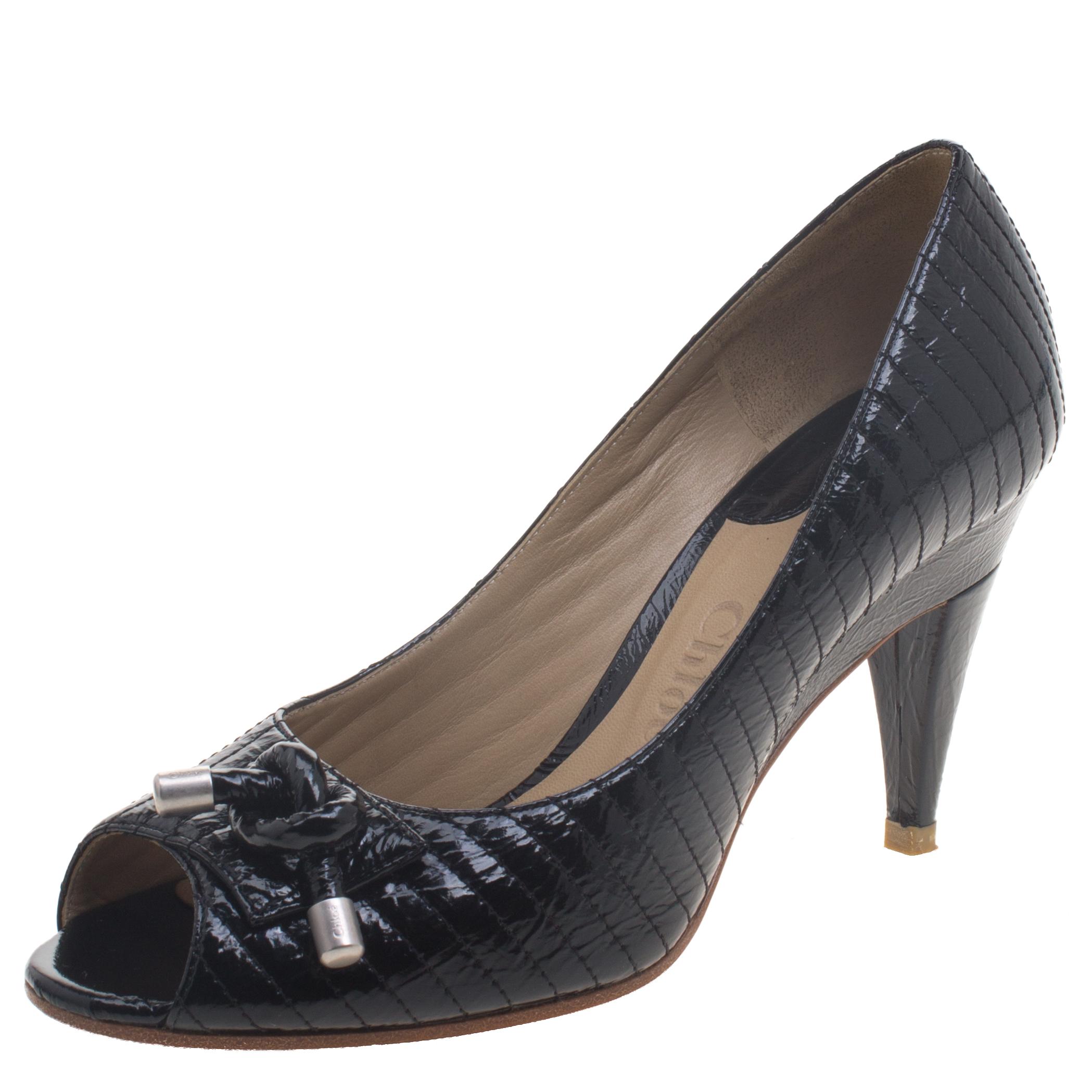 9122aaa6b4f Buy Chloe Black Patent Leather Line Stitch Detail Peep Toe Pumps ...