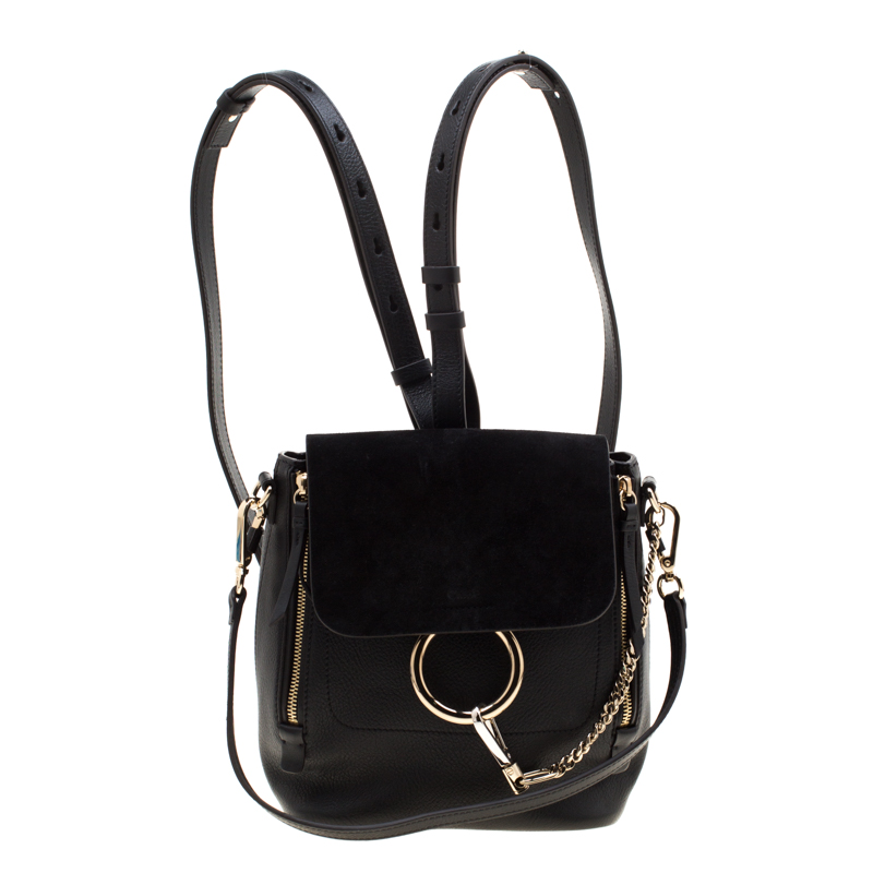 036ebedf Chloe Black Leather and Suede Small Faye Day Backpack