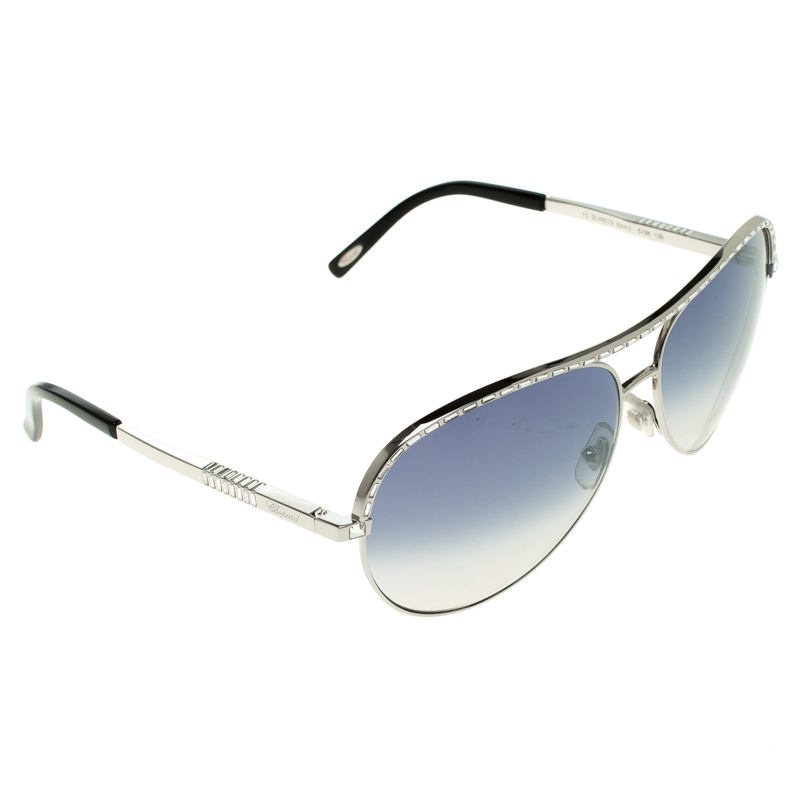 22d25ef342 Buy Chopard Black Silver SCH807S Aviator Sunglasses 117549 at best ...