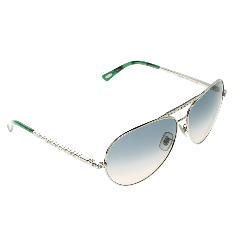 f6a3d81ab9aad Buy Chopard Green Silver SCH934S Embellished Aviator Sunglasses ...