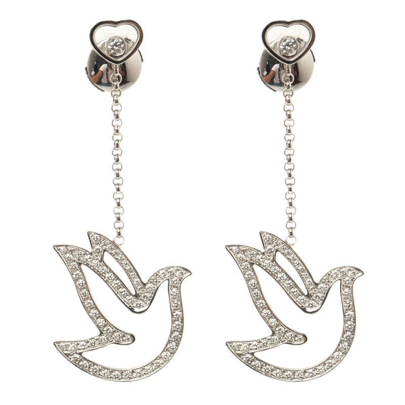 Фото #1: Chopard Happy Diamond Dove 18k White Gold Dangle Earrings