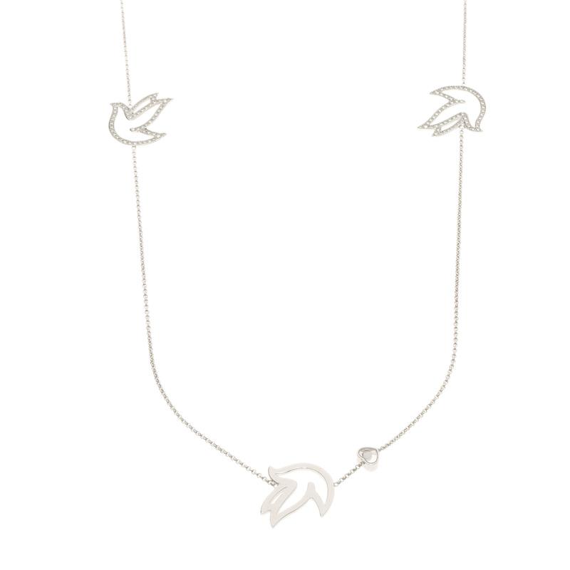 Купить со скидкой Chopard Happy Diamond Dove 18k White Gold Sautoir Necklace