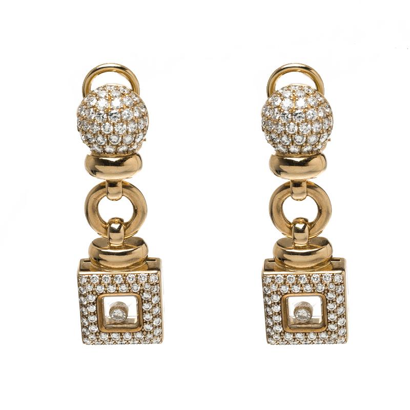 Купить со скидкой Chopard Vintage Happy Diamond 18k Yellow Gold Drop Earrings