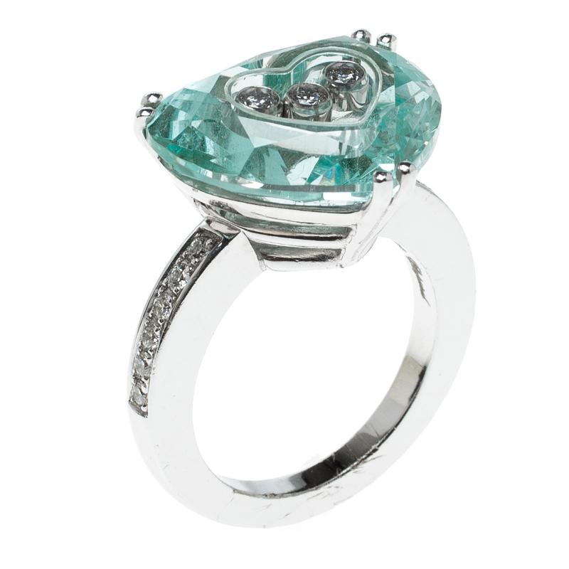 4a101188613 ... Chopard So Happy Green Stone Heart Diamond 18k White Gold Ring Size 51.  nextprev. prevnext