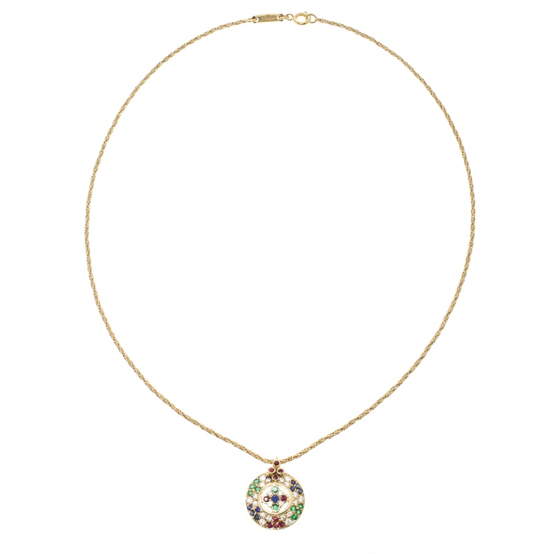 Купить со скидкой Chopard Vintage Multi Gem Pendant 18k Yellow Gold Rope Chain Necklace