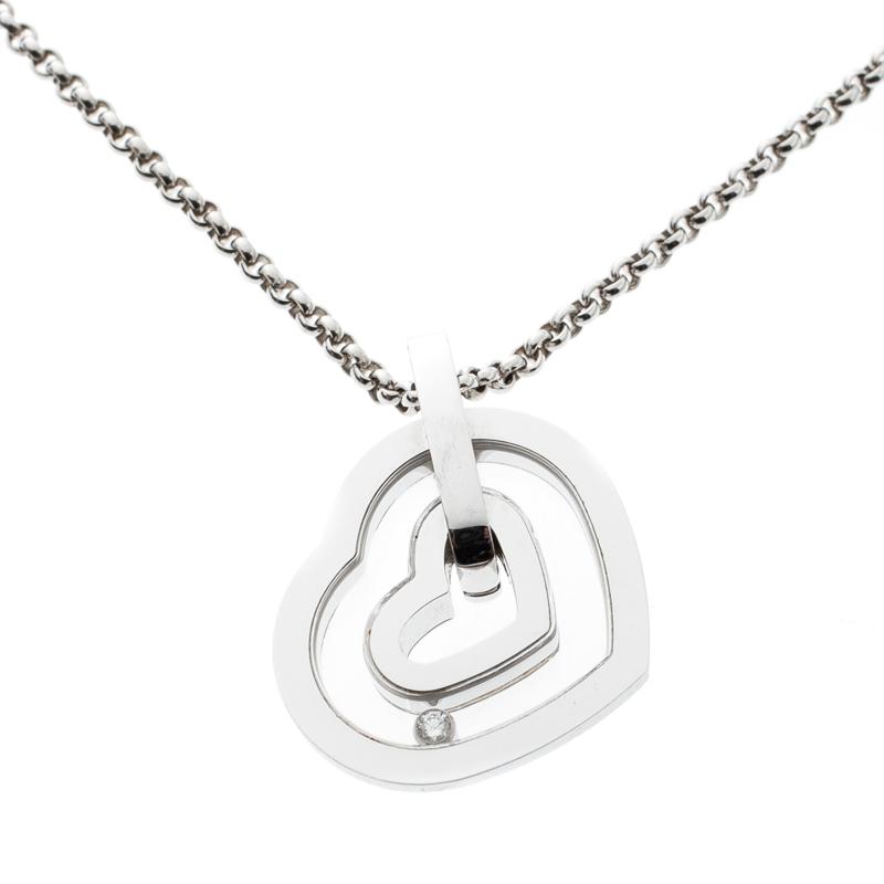 ee44acdbd96c3 Buy Chopard Happy Diamond Heart 18k White Gold Pendant Necklace ...