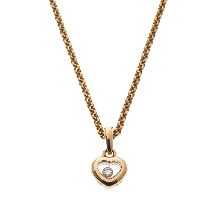 Купить со скидкой Chopard Happy Heart Diamond & 18k Yellow Gold Pendant Necklace