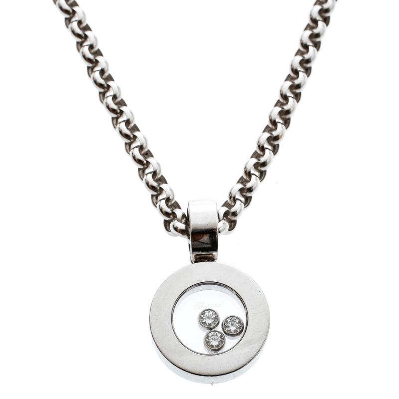 444d68c97db Chopard Happy Diamonds 18k White Gold Round Pendant Belcher Chain Necklace