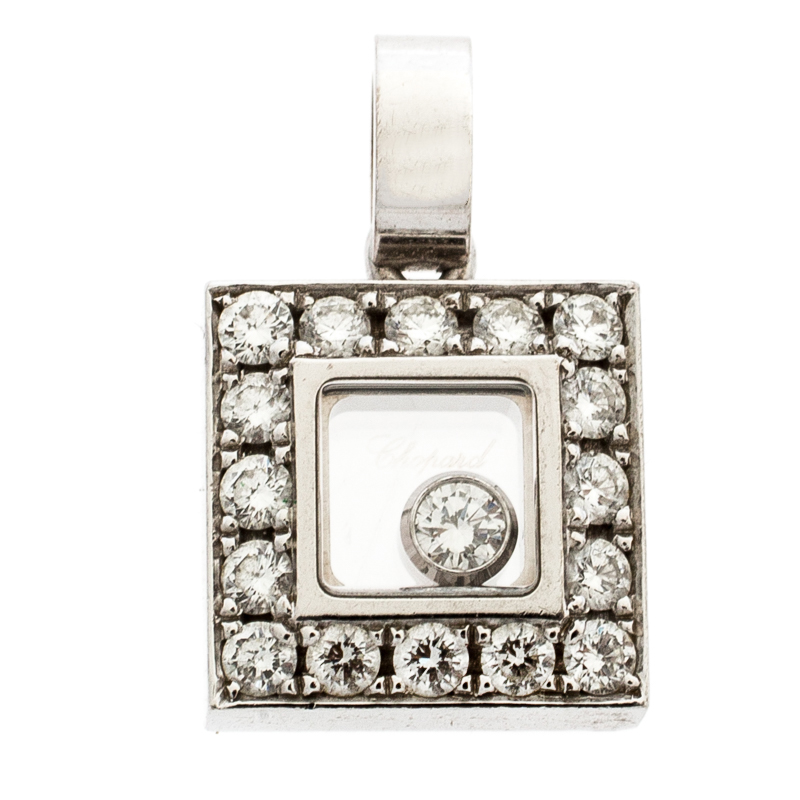 Chopard Happy Diamond 18k White Gold Square Pendant