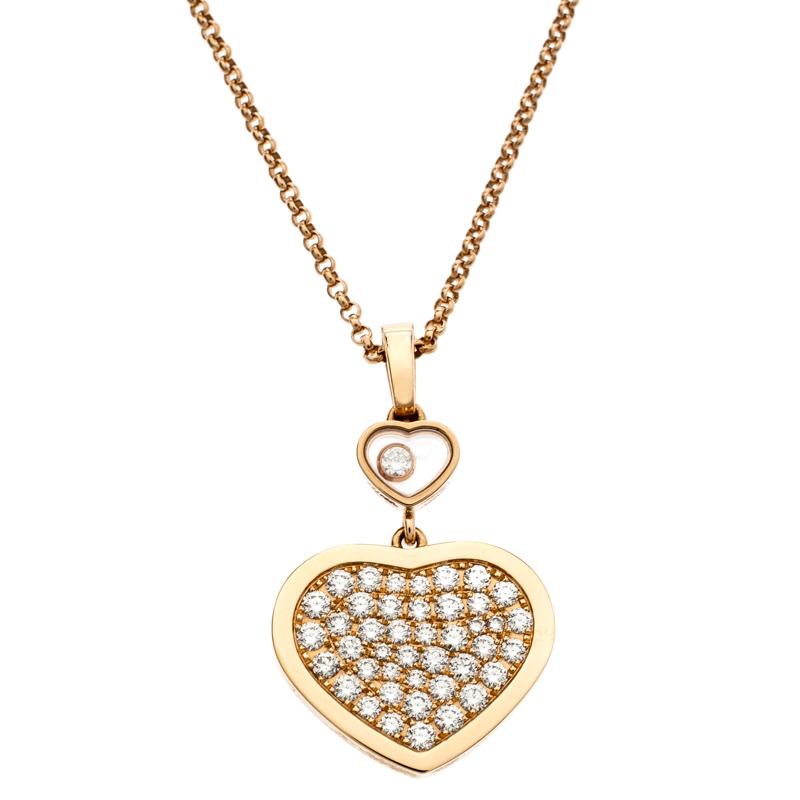 557590b8ca2d5a ... Chopard Happy Hearts Diamond 18k Rose Gold Pendant Necklace. nextprev.  prevnext
