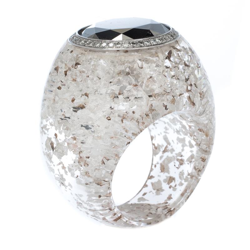 Chopard Golden Diamond Collection Diamond Gold Flecked Resin Ring Size 54.5