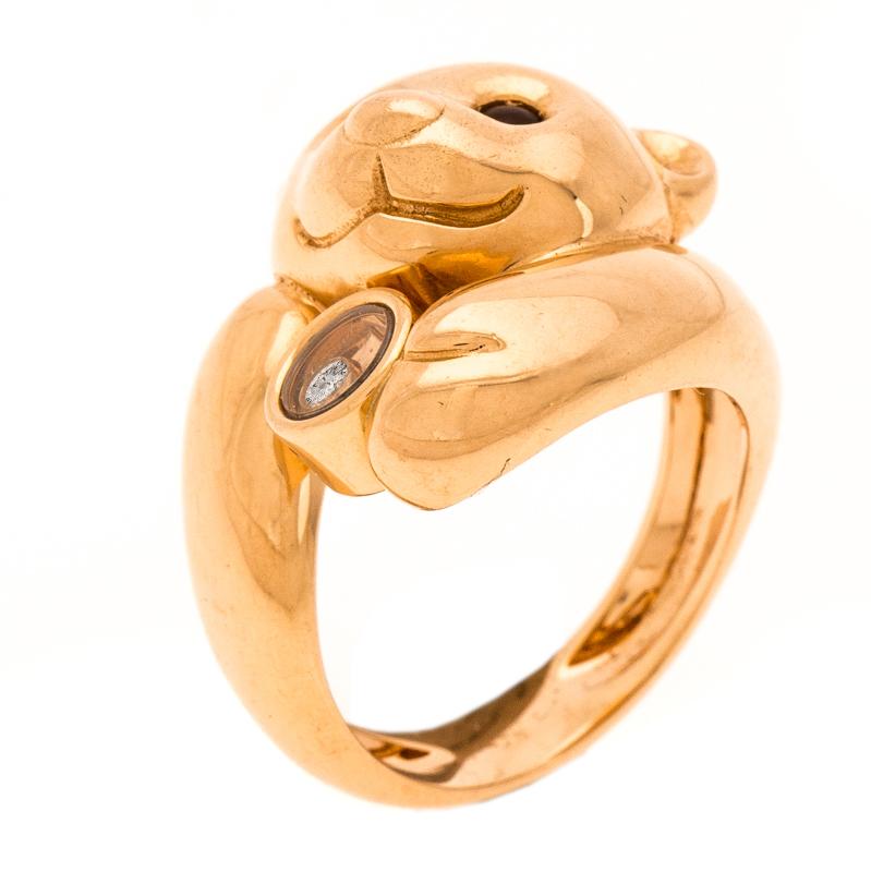 Chopard Animal World Bear Diamond Agate 18k Rose Gold Ring Size 54.5
