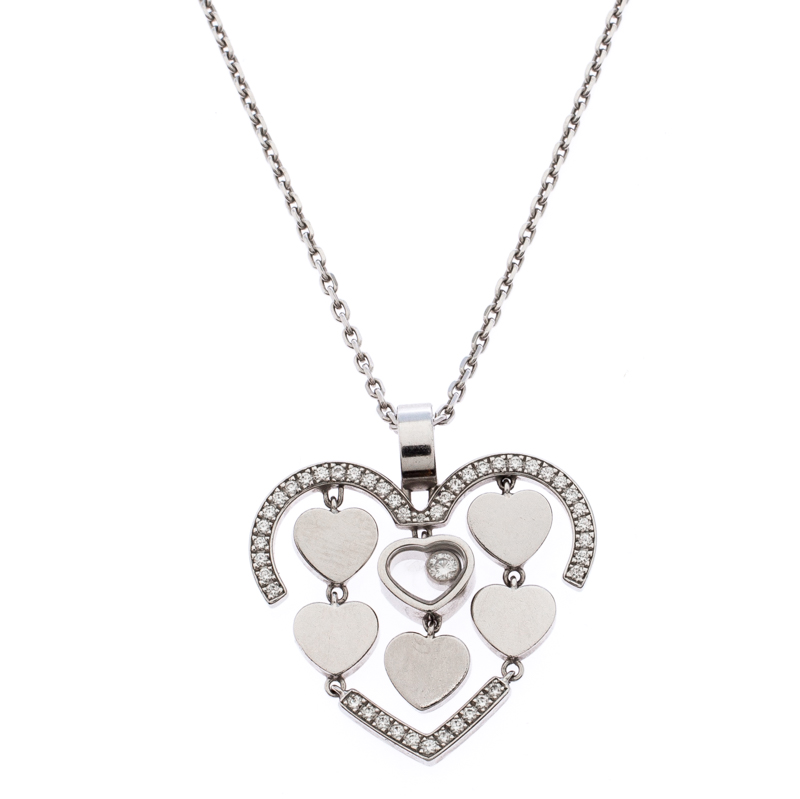 Chopard Happy Diamonds Happy Amore 18K White Gold Pendant Necklace